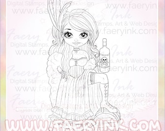 Saloon Girl Whiskey Old West UNCOLORED Digital Stamp Image Adult Coloring Page jpeg png jpg Craft Cardmaking Papercrafting DIY