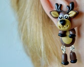 reindeer earrings Christmas earrings Christmas jewelry holiday earrings animal post dangling earrings clinging earring double side earring