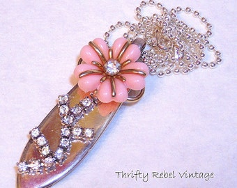 Upcycled Vintage Silver Plate Butter Knife Pink Flower Pendant Necklace