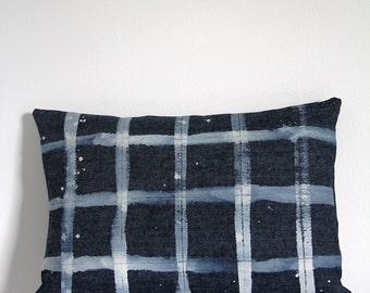 """18""""x12"""" Brushed Grid Indigo Denim Throw Pillow, Decorative Pillow"""