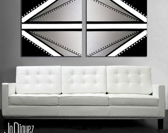 "Original abstract painting. 2 piece canvas art. 24x50"" Large painting with silver. Modern wall art. Metallic painting"