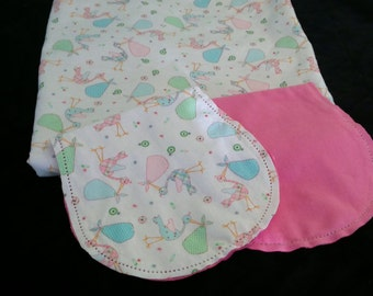 Storks Carrying Babies with Pink Backing Hemstitched Baby Blanket and Burps ready for you to crochet by Lindas Hemstitching