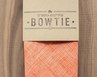 Orange Crosshatch Fabric Pocket Square