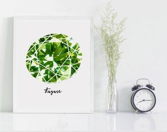 August birthstone, art print, peridot gemstone birthday gift, green gem wall art, birthday present for august, gift for her.