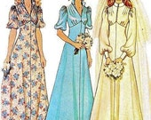 70s BRIDE,  BRIDESMAID DRESS  Sewing Pattern - McCalls 4207  -  Easy Sewing Pattern, Junior sizes  - Long or Short-Sleeved  - Gently Used