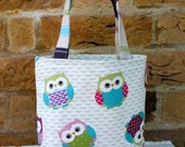 Fabric bag, lunch bag, girls tote bag, small tote, wash bag, posh make up bag, owl bag, toddler tote
