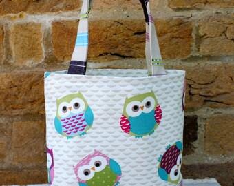 Fabric bag, lunch bag, girls tote bag, small tote, wash bag, posh make up bag, owl bag, toddler tote