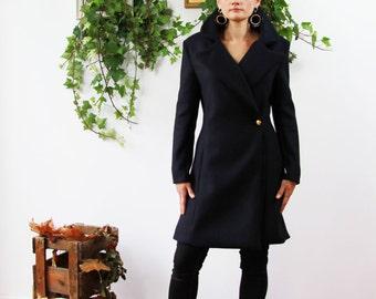Navy wool coat,  winter jacket, womens coats, navy short coat, big collar coat, womens clothing, winter coat , cashmere coat