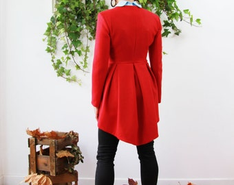 Women peplum red jacket, short tailored jacket,peplum jacket, women red blazer, tail coat women, womens jacket