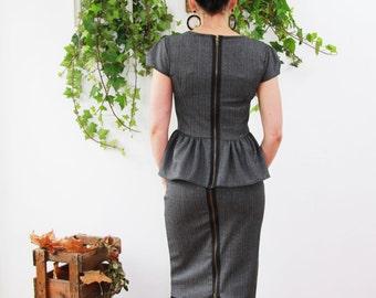 back zip pencil skirt, women skirts, pencil skirt, office wear, business clothes, gray pencil skirt