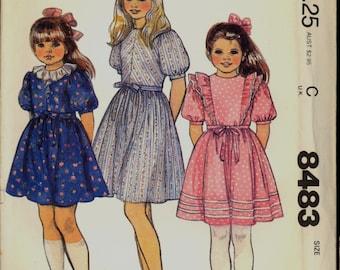 Uncut 1980s Size 6 Breast 25 Girls Annie Party Dress Belt McCalls 8483 Vintage Sewing Pattern Bouffant