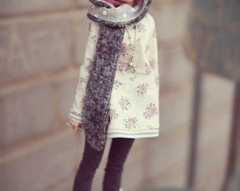 Grey wolf-hat for doll msd 1/4 bjd