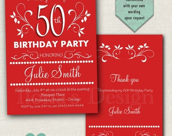 50th Adult Birthday Invitation - Surprise Birthday Invitation - 20th, 30th, 40th Birthday Invitation - Red Adult Invitations