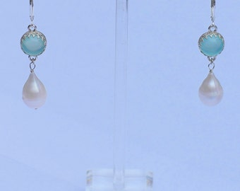 Pearl Earrings with chalcedony in beautiful settings, large freshwater pearl drops, sterling silver