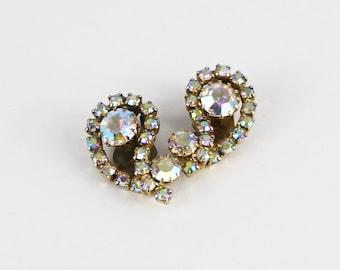 Continental Rhinestone Earrings - Bridal Earrings - Vintage 1960s Aurora Borealis Rhinestone Clip Ons