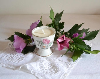French vintage shabby chic porcelain tea cup soy scented candle