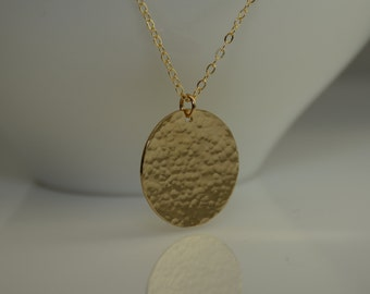 """Large Hammered Disc Necklace. Gold Circle necklace. Large Disc Necklace. Minimalist Necklace. Gold filled Disc Necklace. 1.25"""" disc"""