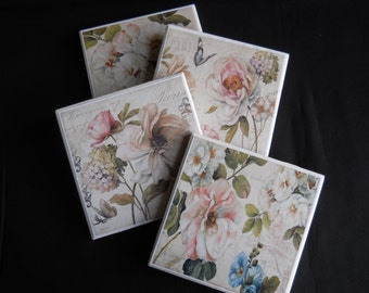 Flower Coasters ~ Floral Decor ~ Ceramic Tile Coasters ~ Pretty Flowers ~ Country Decor ~ Pretty Coasters ~ Drink Coasters ~ Table Coasters