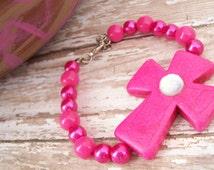 Hot Pink Cross Bracelet, Sideways Cross Bracelet, Christian Jewelry, Christian Bracelet, Chunky Cross Bracelet, Hot Pink Jewelry
