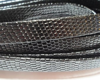Pre Cuts, No Joins, 10mm Flat Leather Nappa Black Snake Style High Quality Genuine Nappa 10mm Leather Cord