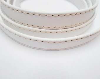 White Wrapped Stitched 10mm Flat Leather Cord