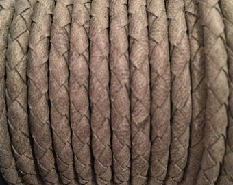 """PER 8""""  4mm Grey Arizona Braided Leather cord, round leather finding, flexible"""