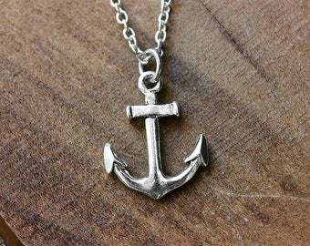Silver Anchor Necklace - Pewter Anchor - Nautical Necklace - Hope Necklace - Masculine Nautical Jewelry by Modern Out