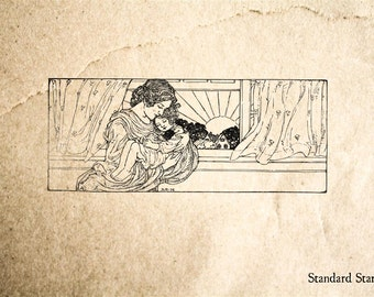 Mother with Sleeping Child Rubber Stamp - 3 x 1 inches