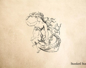 Old World Mermaid Rubber Stamp - 2 x 2 inches