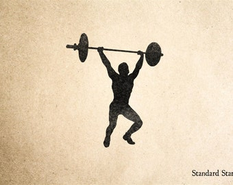 Strong Man Silhouette Rubber Stamp - 2 x 2 inches