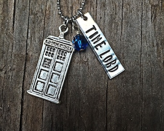 Time Lord - Whovian - Doctor Who inspired - Police call box - hand stamped - Swarovski crystal - hand stamped necklace - doctor who necklace