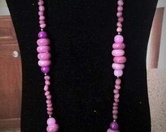 Purple Long Mixed Beaded Necklace, Statement Necklace, Chunky Statement Necklace, Statement Necklace, Beaded Necklace, One-of-a-kind!