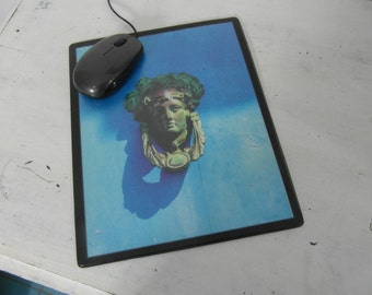 Mouse pad, fine art print photography : Empress door knocker on blue door, France. Choose your photo.