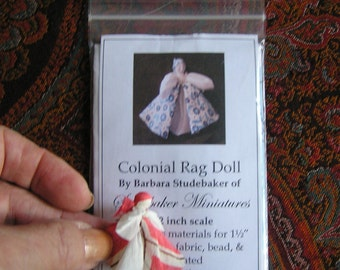 Kit for Colonial Rag Doll, Miniature Do-It-Yourself