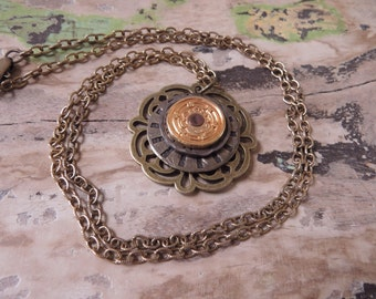 Brass Gold Necklace Hand Crafted OOAK Antiqued Brass Gold Pendant Necklace Vintage Jewelry Assemblage