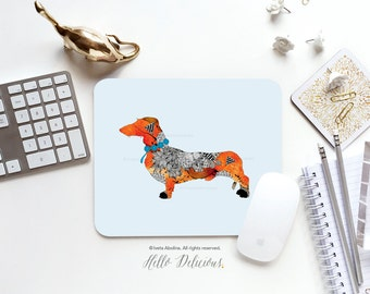 "Dog Mousepad ""Wiener Dog"" by Iveta Abolina Mousepad Mouse Mat Dachshund Mousepad Office Mousemat Heart Mousemat Mousepad Round I144"