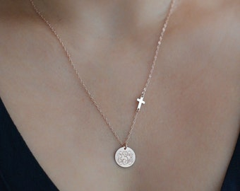 Monogram Necklace Gold, Silver, Rose Gold / with sideways cross / Personalized Gift, Custom Jewelry