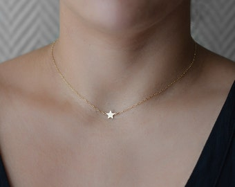 Tiny Star Necklace, Simple Dainty Necklace, Bridesmaid Star Necklaces