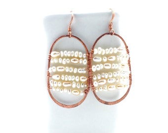 Freshwater Pearl Shield Earrings Tsalagi Cherokee Made
