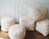 Moroccan leather pouf // hand-stitched, natural premium leather