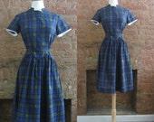 1950s blue plaid cotton day dress • 50's mid century classic