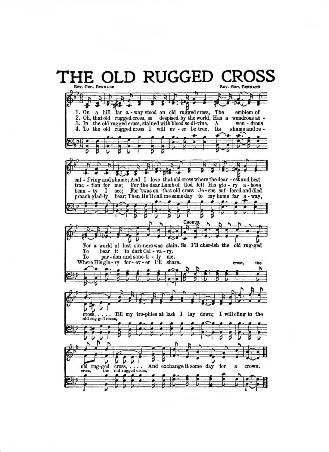 The Old Rugged Cross Hymn Digital Sheet Music Easter Christian
