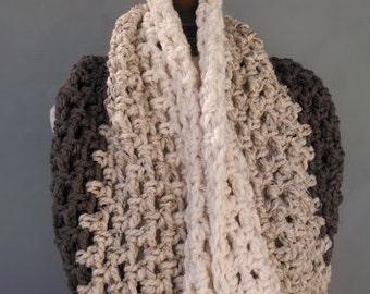 Oversized Chunky Cowl Textured Handmade Crochet Neckwarmer Womens Infinity Scarf / Toasted Coconut-Cinnamon Oatmeal-Coconut Cream