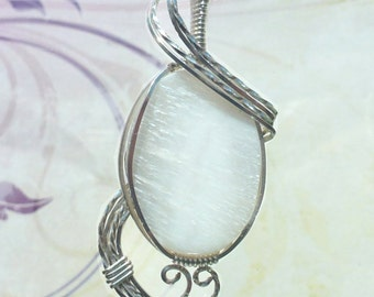 FREE SHIPPING Brilliant White Quartz Womans Pendant Necklace Wire Wrapped Jewelry Handmade in Silver