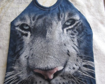 handmade halter top/ backless halter top/ tie dye leopard/ osfm