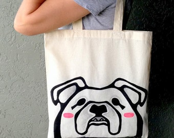 Bulldog Tote Bag - 100% Cotton Tote - English Bulldog - Tote Bag - English Bulldog Bag - Pet Lover Tote Bag