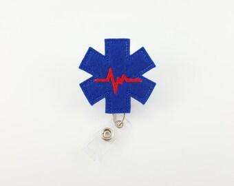 Emergency Medical - Felt Badge Reel - Retractable ID Badge Holder - Paramedic ID Holder - EMT Badge Clip - Medical Badge Reels - Medic Badge