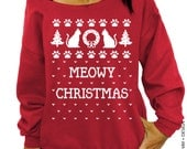 Meowy Christmas - Ugly Christmas Sweater - Red Slouchy Oversized Sweatshirt
