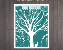 Digital File - Personalised Family Tree Gift to print at home - custom family tree gift in any colour - digital file to print