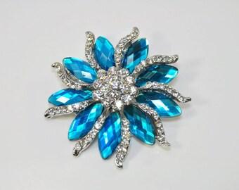 Aqua Brooch Teal Blue Crystal flower Brooch turquoise brooch pin, Light Blue Rhinestone Broach Rhinestone Brooches brooch Bouquet